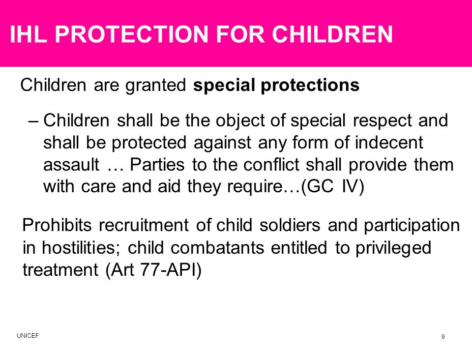 IHL PROTECTION FOR CHILDREN
