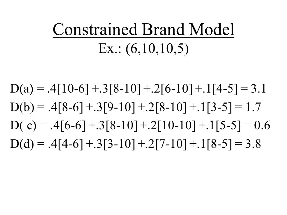 Constrained Brand Model Ex.: (6,10,10,5)
