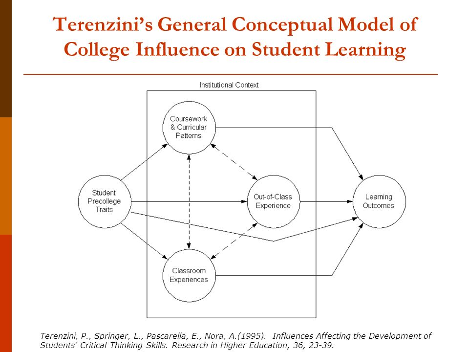 Terenzini's General Conceptual Model of College Influence on Student Learning