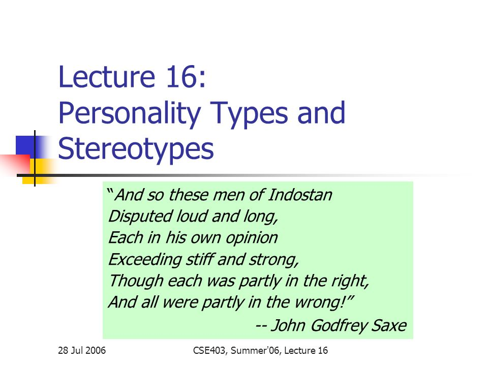 Lecture 16: Personality Types and Stereotypes - ppt download