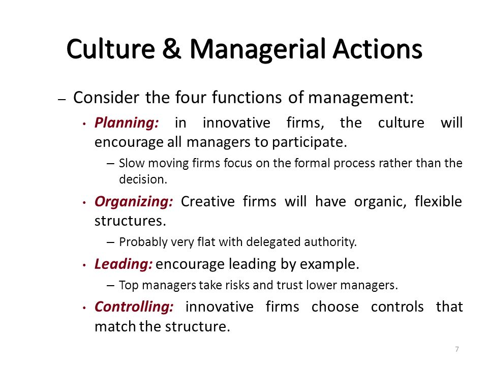 the four management functions with example