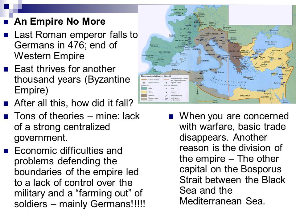 fall of western roman empire The decline and fall of the western roman empire in the fourth and fifth the rise of the roman empire can be contributed to many factors those factors would include strength in the military, society, leadership, religious, and architectural aspects of the roman empire.