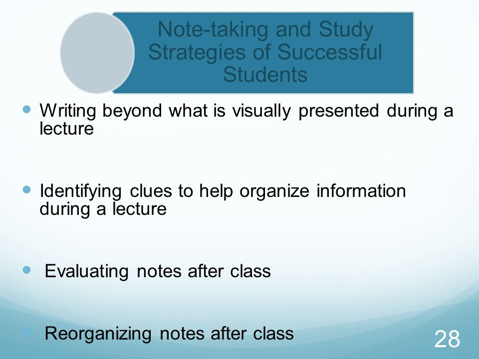 Note-taking and Study Strategies of Successful Students