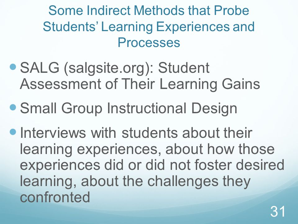 SALG (salgsite.org): Student Assessment of Their Learning Gains