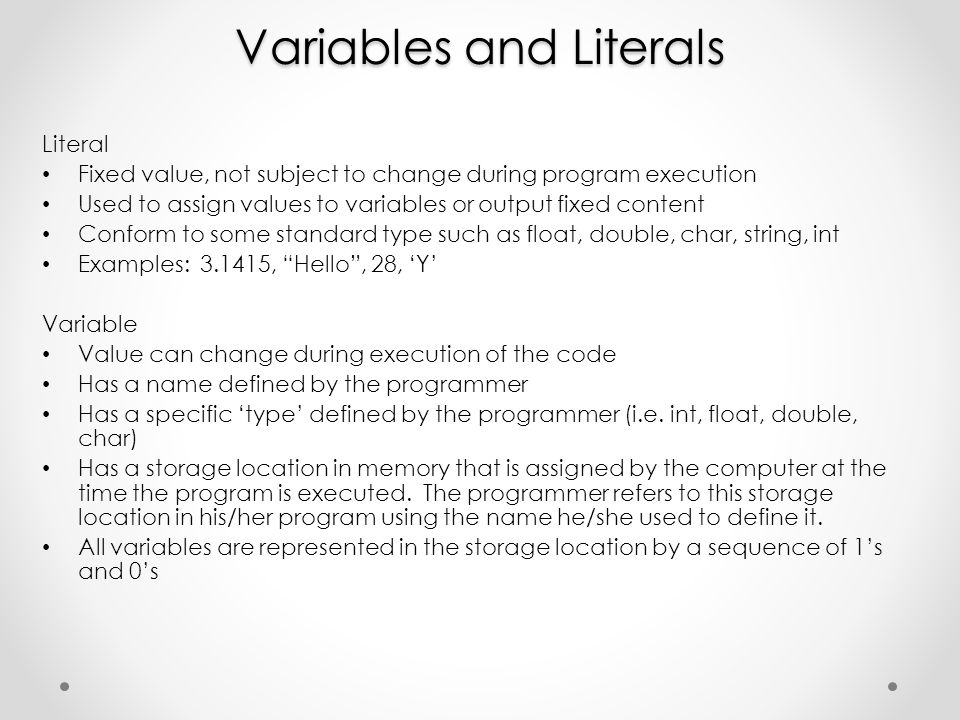 Variables and Literals