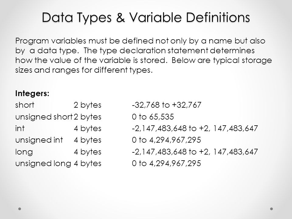 Data Types & Variable Definitions