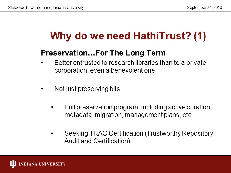 Why do we need HathiTrust (1)