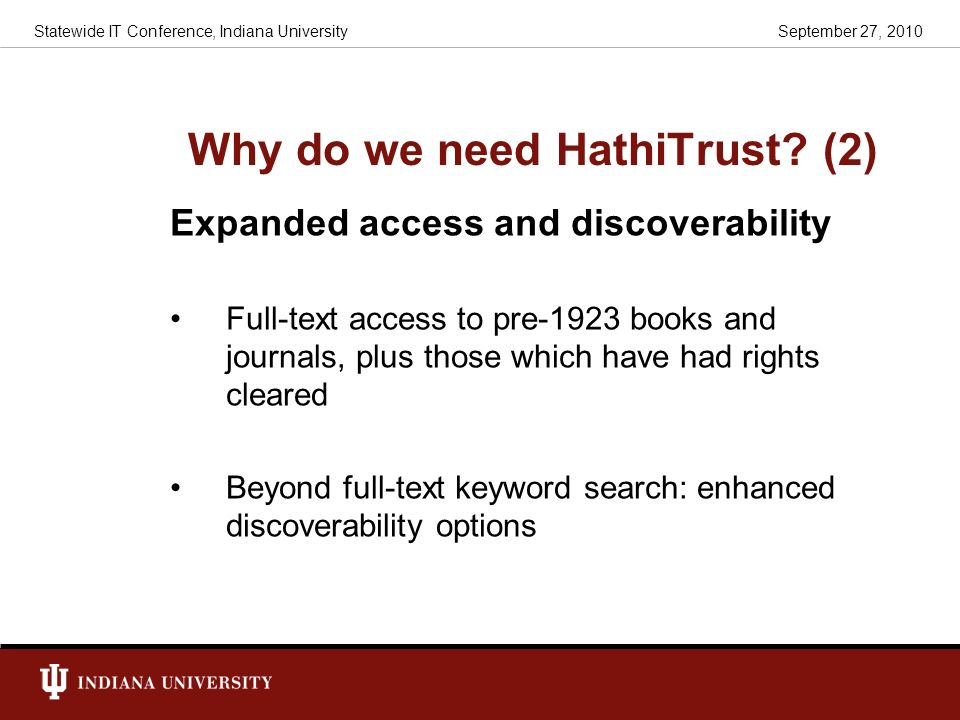 Why do we need HathiTrust (2)