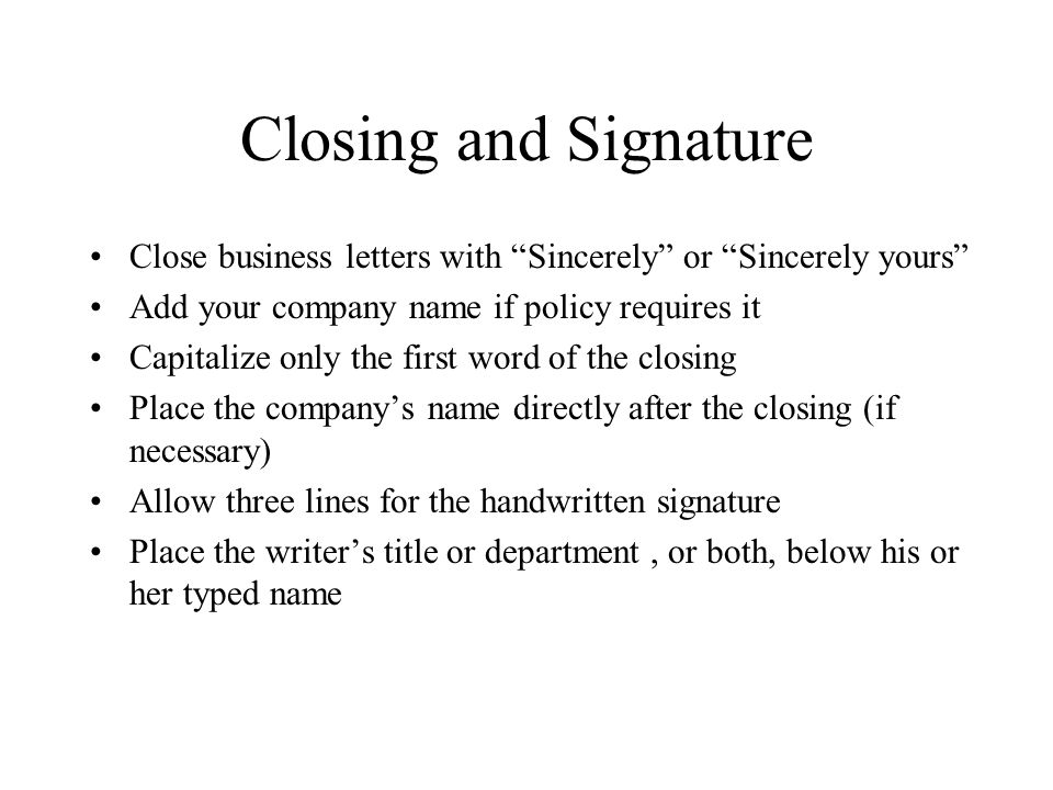 20 Closing And Signature Close Business Letters ...