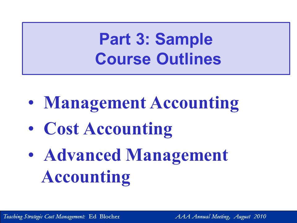 Part 3: Sample Course Outlines