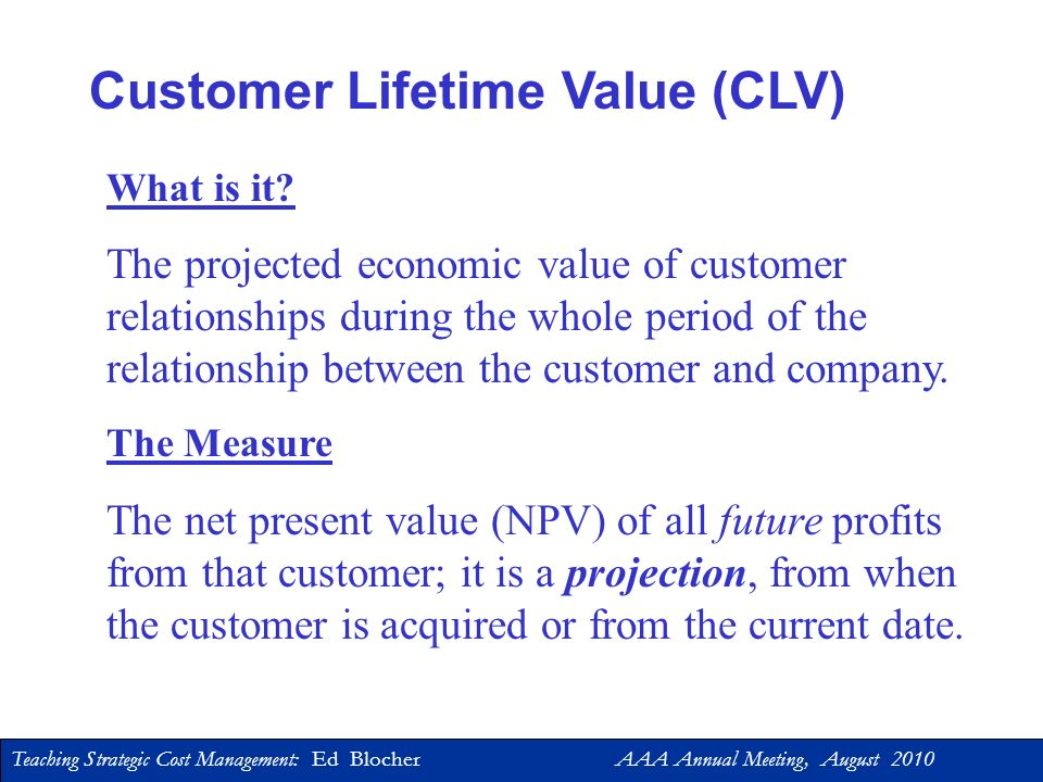 Customer Lifetime Value (CLV)