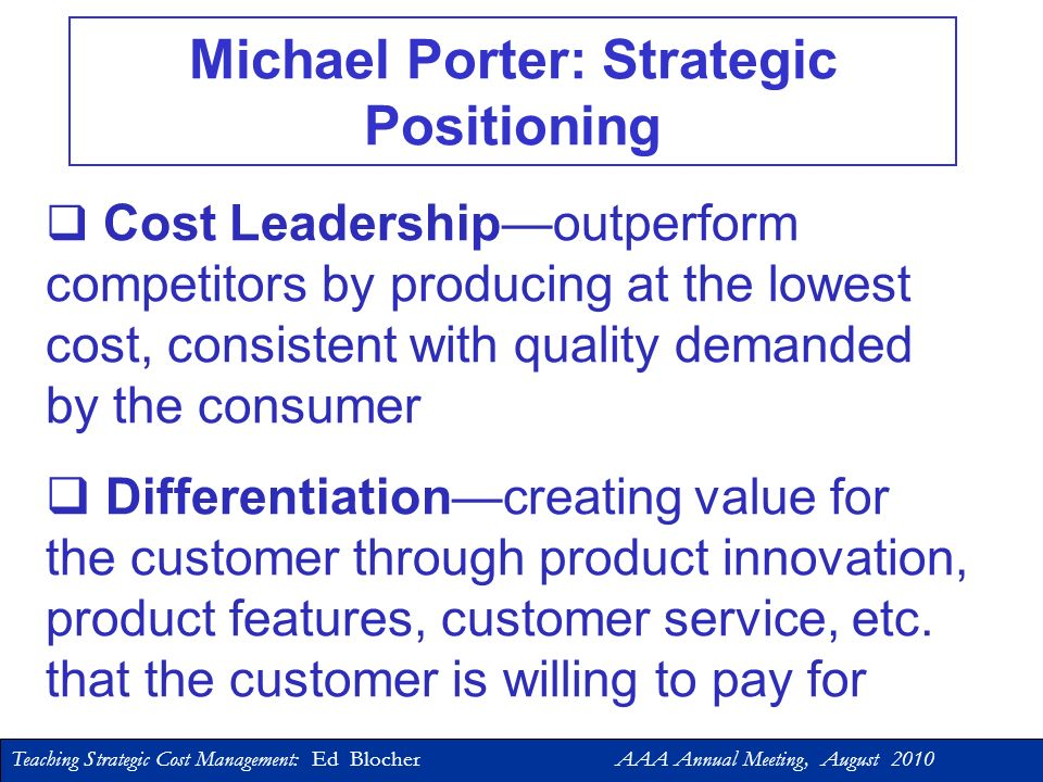 Michael Porter: Strategic Positioning