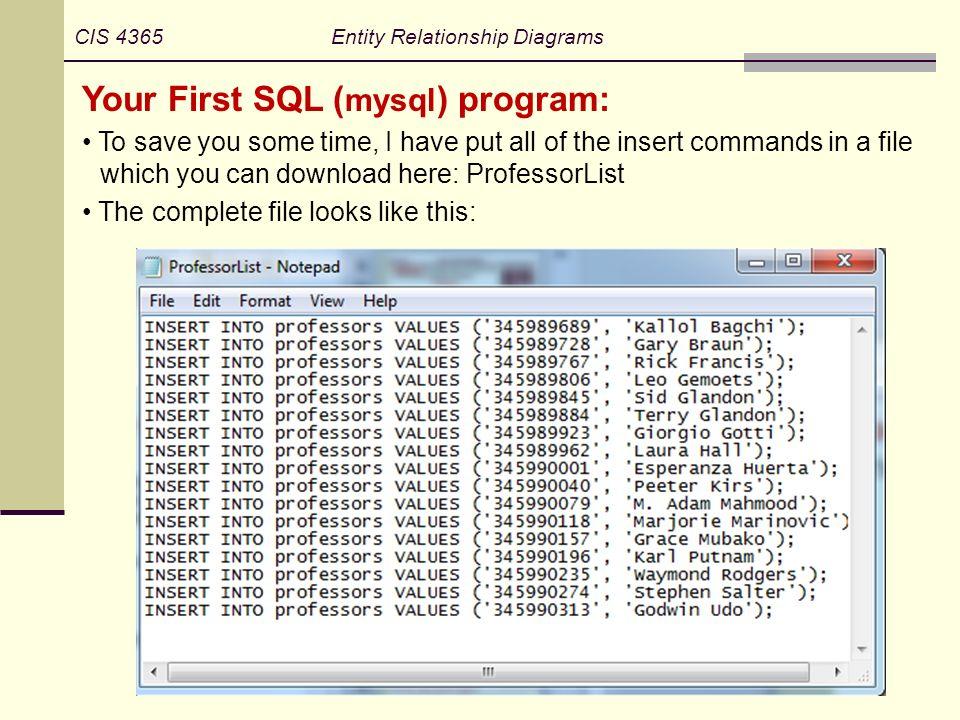 your first sql (mysql) program: