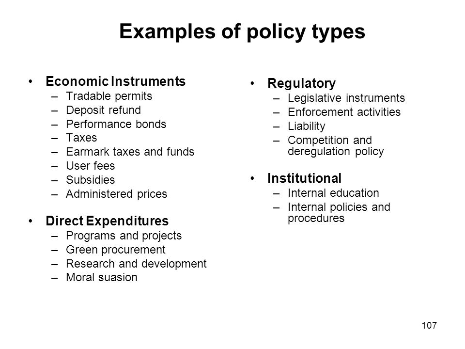 Examples of policy types