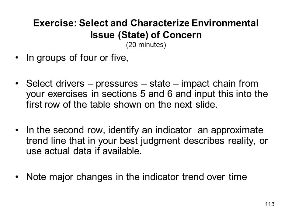 Exercise: Select and Characterize Environmental Issue (State) of Concern (20 minutes)