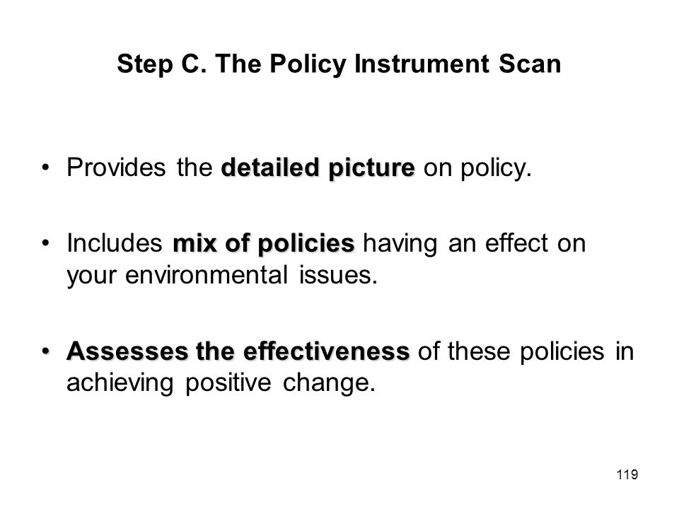 Step C. The Policy Instrument Scan