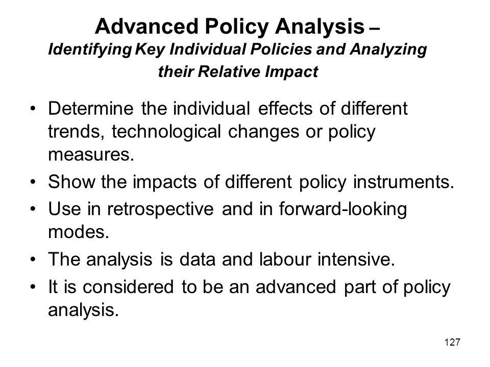 Advanced Policy Analysis – Identifying Key Individual Policies and Analyzing their Relative Impact