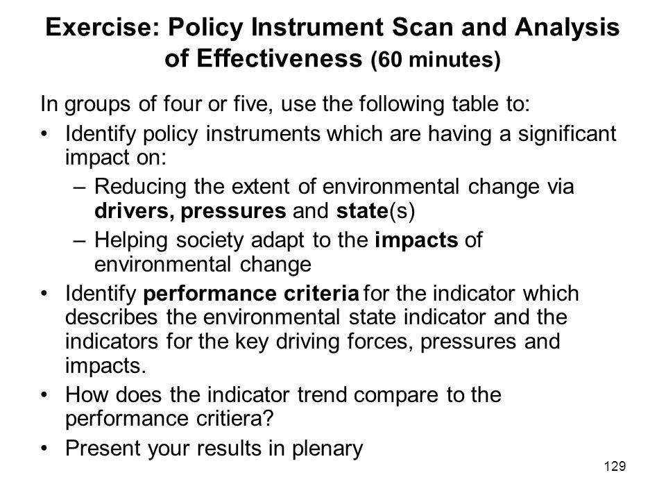 Exercise: Policy Instrument Scan and Analysis of Effectiveness (60 minutes)