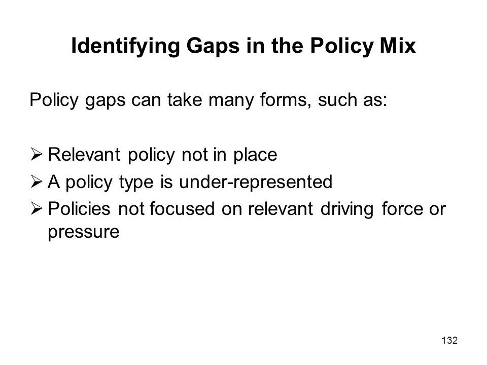 Identifying Gaps in the Policy Mix