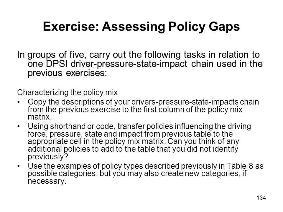 Exercise: Assessing Policy Gaps