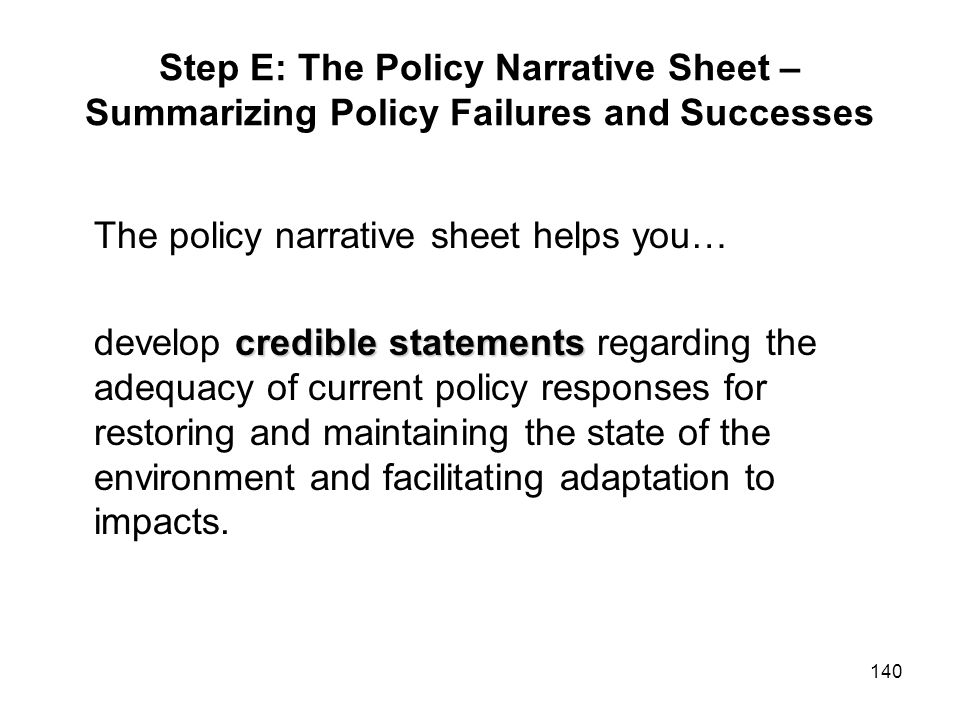 Step E: The Policy Narrative Sheet – Summarizing Policy Failures and Successes