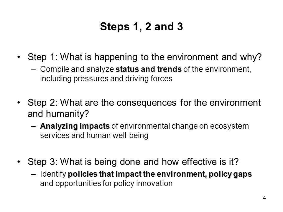 Steps 1, 2 and 3 Step 1: What is happening to the environment and why