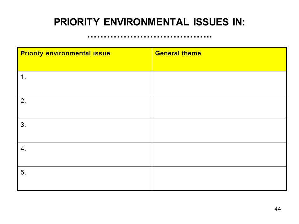 PRIORITY ENVIRONMENTAL ISSUES IN: ………………………………..