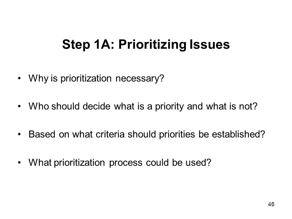 Step 1A: Prioritizing Issues
