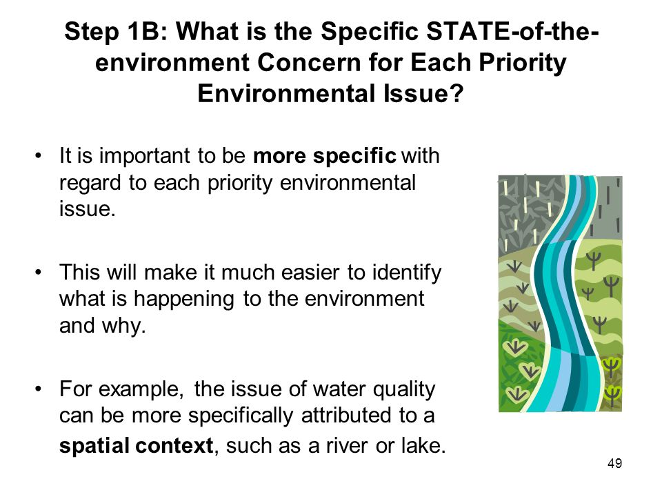 Step 1B: What is the Specific STATE-of-the-environment Concern for Each Priority Environmental Issue