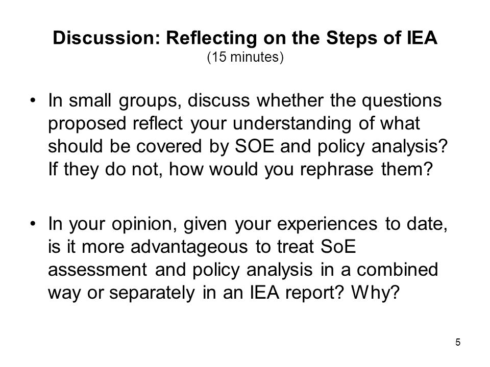 Discussion: Reflecting on the Steps of IEA (15 minutes)