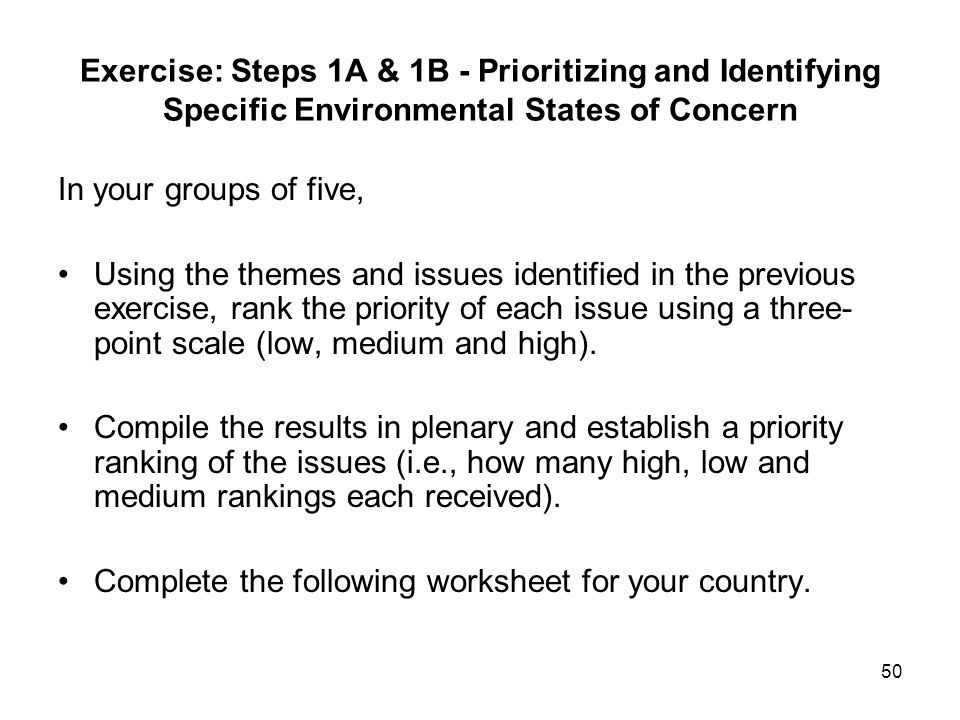 Exercise: Steps 1A & 1B - Prioritizing and Identifying Specific Environmental States of Concern