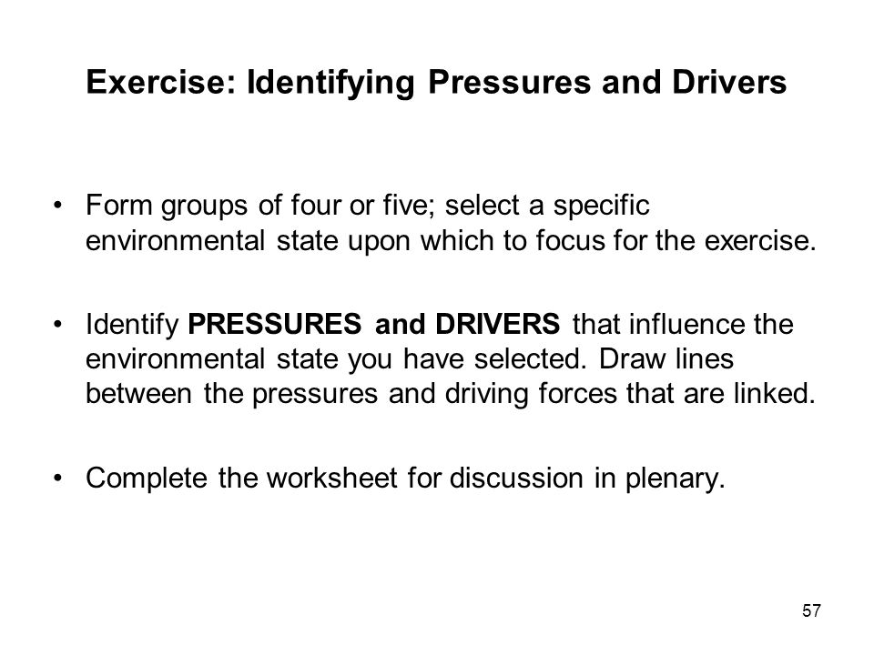 Exercise: Identifying Pressures and Drivers