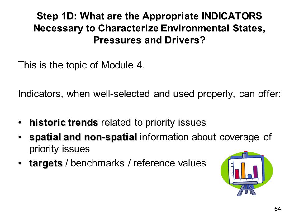 Step 1D: What are the Appropriate INDICATORS Necessary to Characterize Environmental States, Pressures and Drivers
