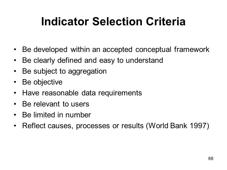 Indicator Selection Criteria