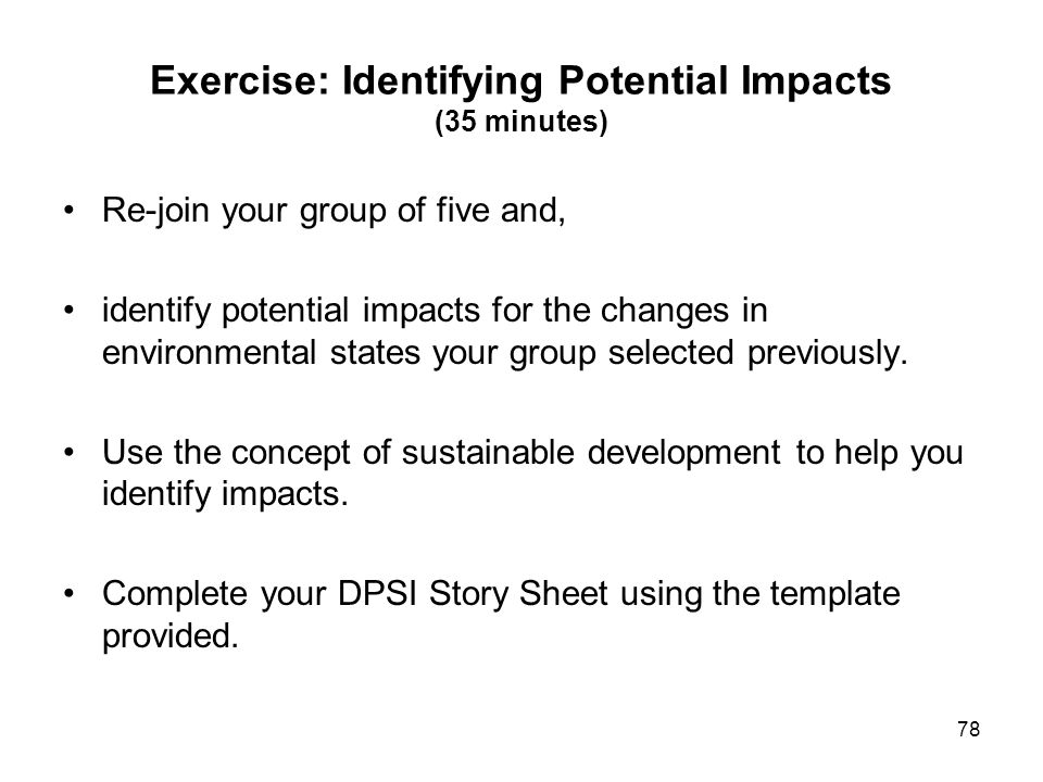 Exercise: Identifying Potential Impacts (35 minutes)