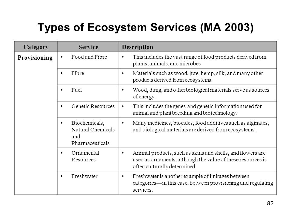 Types of Ecosystem Services (MA 2003)