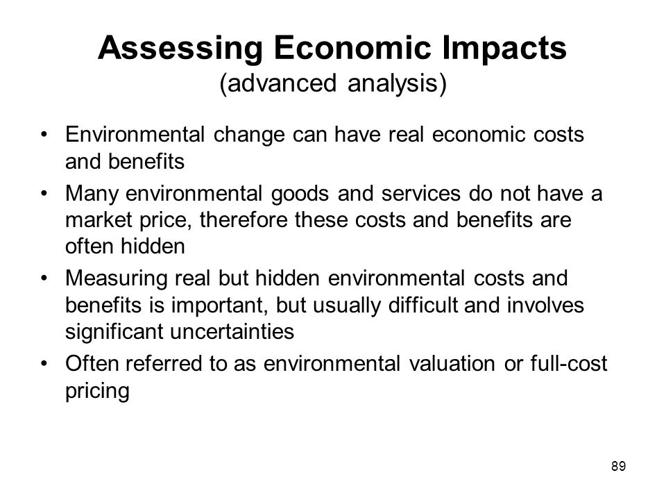 Assessing Economic Impacts (advanced analysis)