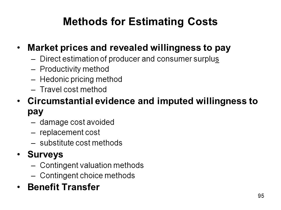 Methods for Estimating Costs