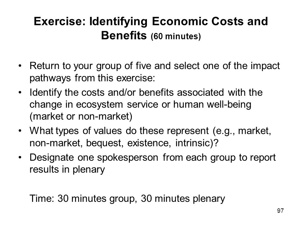 Exercise: Identifying Economic Costs and Benefits (60 minutes)