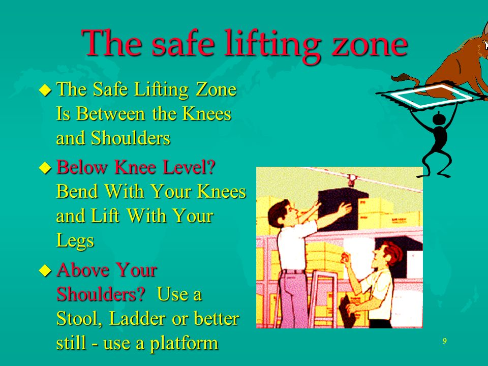 The safe lifting zone The Safe Lifting Zone Is Between the Knees and Shoulders. Below Knee Level Bend With Your Knees and Lift With Your Legs.