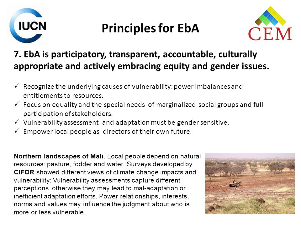 Principles for EbA 7. EbA is participatory, transparent, accountable, culturally appropriate and actively embracing equity and gender issues.