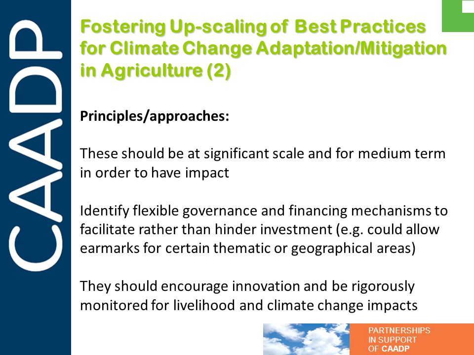 Fostering Up-scaling of Best Practices for Climate Change Adaptation/Mitigation in Agriculture (2)