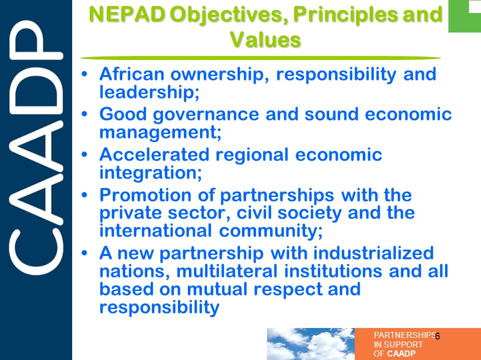 NEPAD Objectives, Principles and Values