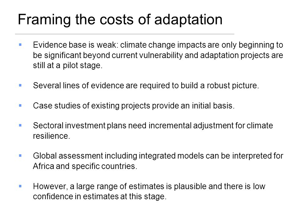 Framing the costs of adaptation