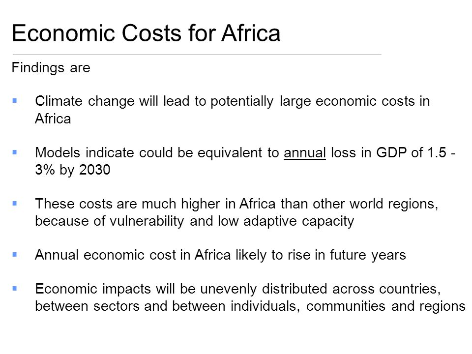 Economic Costs for Africa