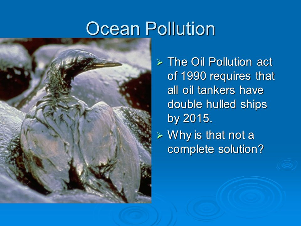 Ocean Pollution The Oil Pollution act of 1990 requires that all oil tankers have double hulled ships by