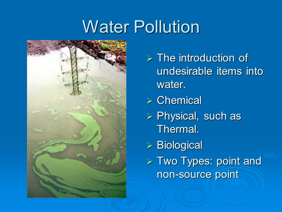 Water Pollution The introduction of undesirable items into water.