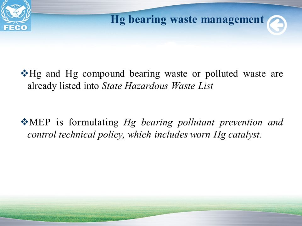 Hg bearing waste management