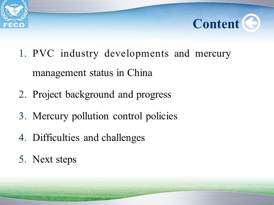 Content PVC industry developments and mercury management status in China. Project background and progress.
