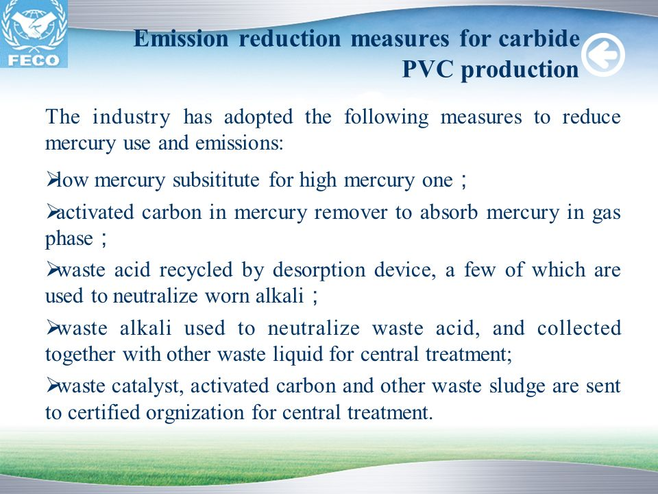 Emission reduction measures for carbide PVC production
